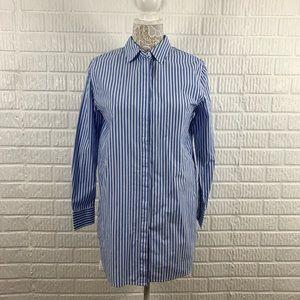 Boden Striped Tunic Button Down Blue 8 NWT